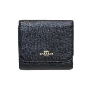 Coach black small leather wallet NWT